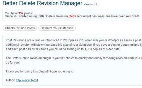 Nicht benötigte Revisionen löschen - mit Better Delete Revision