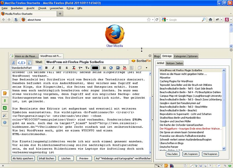 WordPress mit Firefox Plugin Scribefire