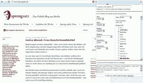 Schriftbildänderung mit dem Google Font Previewer