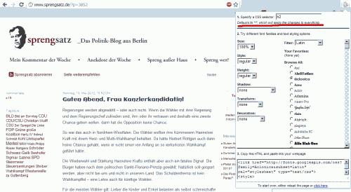 Schriftänderung eines CSS-Selektors