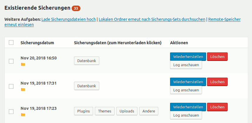 updraftplus Backup Plugin für WordPress