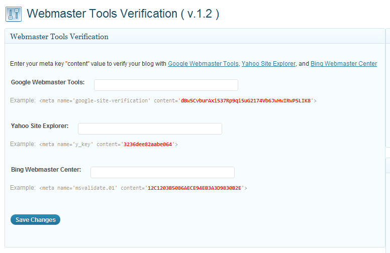 Google Webmaster Tools Site Verification in WordPress