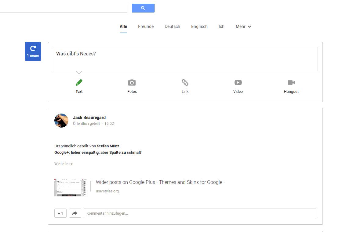 Breite der Einzelspaltenansicht im neuen Google+ Design vergrößern