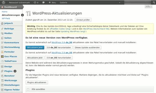 Das WordPress Backend in der 3.7x Version