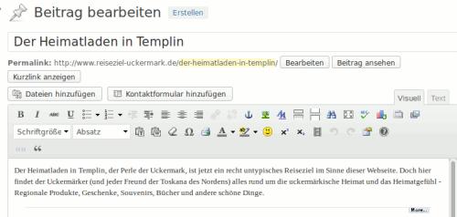 Der Texteditor in der WordPress 3.7x Version