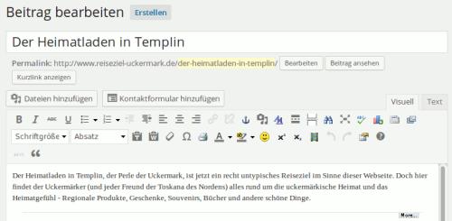 Der Texteditor in der WordPress 3.8 Version