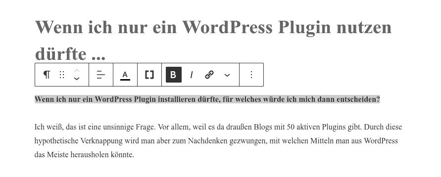 Nach der Konvertierung eines WordPress classic Blocks in Gutenberg Blöcke