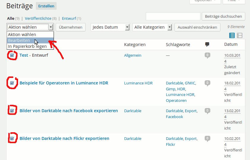 Massenbearbeitung von WordPress Artikeln