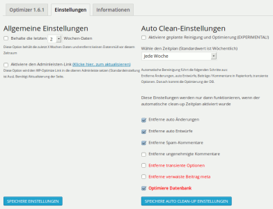 Automatische Optimierungen in WP Optimize