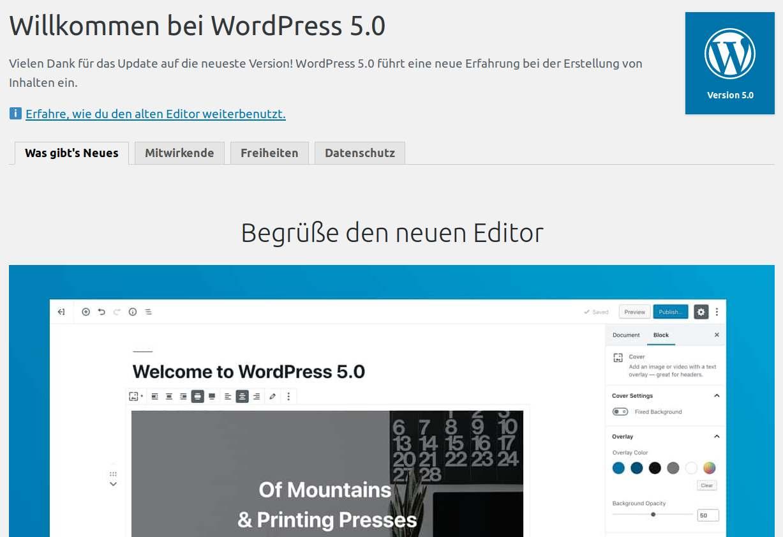 Willkommensbildschirm nach WordPress 5.0 Update