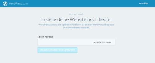 Anmeldung bei WordPress.com