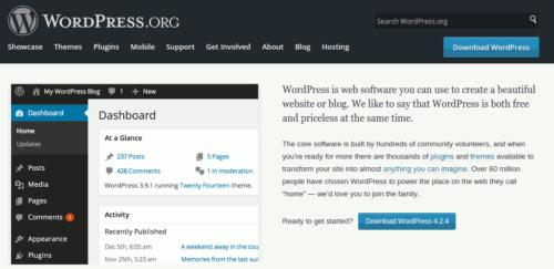 Startseite von wordpress.org