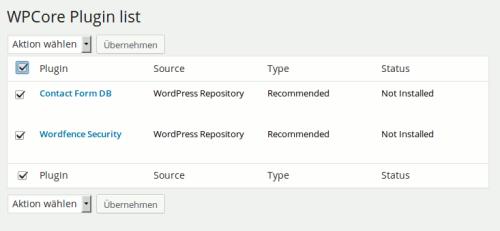 Plugin Liste zur Installation | WP Core