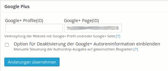 Google+ Infos in wpSEO 4.0