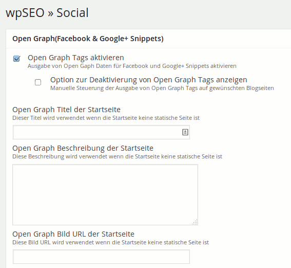 Open Graph Standardeinstellungen für Facebook in wpSEO 4.0