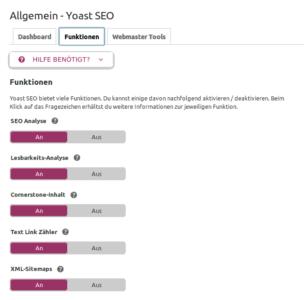 Aktivierung Sitemap Funktion bei Yoast SEO