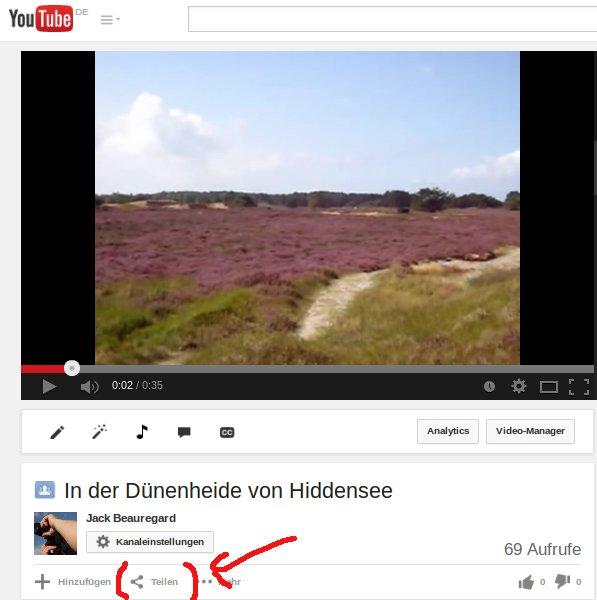 Youtube Videos aus dem eigenen Kanal teilen